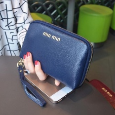 Toprate Women Cow Leather Fashion Wristlets Bag Color Blue Size:19*11*3cm - intl
