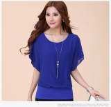 Cheap Tops Tees Tees T Shirts Tops Blouses Chiffon Lady Tops Women Blouse Loose Bat Sleeve Women S Fashion Solid Color Intl