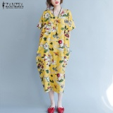 Shop For Tops Blusas 2017 Zanzea Women Vintage Floral Print Short Sleeve Long Shirt Dress Summer Ladies Round Neck Loose Casual Vestido Yellow Intl