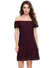 Topsellers365 Fashion For Women Casual Slash Neck Off The Shoulder Solid A Line S*xy Dress Red Intl For Sale