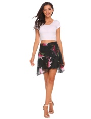 Topsellers365 Fashion For Women High Waist Chiffon Floral A Line Skirt Mini Front Split Ruffles Floral Intl Compare Prices