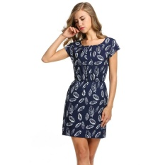 Wholesale Topsellers365 Stylish For Meaneor Women Round Neck Elastic Waist Animal Print Pocket Dress Navy Blue Intl