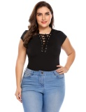 Lowest Price Topsellers365 Women Plus Size S*xy Lace Up V Neck Short Sleeve Bodysuit Overall Clubwear Tops Black Intl