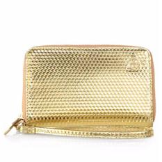 Tory Burch Metallic Phone Leather Wristlet Pouch (Gold)