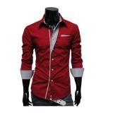 Coupon Turn Down Collar Gentlemen Shirt Double Color Men S Blouses Long Sleeve Slim Fit Men Shirt Men S Fashion Button Front Bussiness Casual Intl