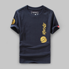 Review Ulzzang Cotton A Victoria Men S Spring And Summer T Shirt Navy Blue On China