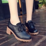 Best Offer Moyun Women S English Style Chunky Heel Retro Leather Shoes Black Black