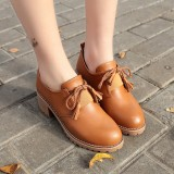 Best Offer Moyun Women S English Style Chunky Heel Retro Leather Shoes Brown Brown