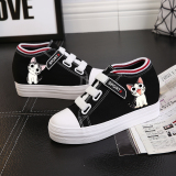 Coupon Ulzzang Korean Style Graffiti Elevator Versatile Casual Shoes Velcro Canvas Shoes Cheese Cat Black