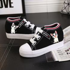 New Ulzzang Korean Style Graffiti Elevator Versatile Casual Shoes Velcro Canvas Shoes Cheese Cat Black