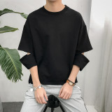 Recent Ulzzang Korean Style Male Wind Students Half Sleeved T Shirt Black