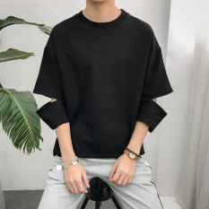 Ulzzang Korean Style Male Wind Students Half Sleeved T Shirt Black Shop