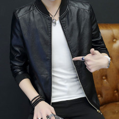 Ulzzang out-of-season boy's jacket leather coat (Black)