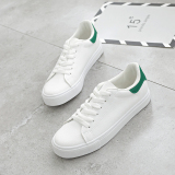 Compare Prices For Ulzzanghan Version Female Lace Up Spring White Shoes Little White Shoes White And Green White And Green