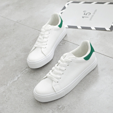 Ulzzanghan Version Female Lace Up Spring White Shoes Little White Shoes White And Green White And Green Coupon Code