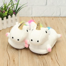 Price Compare Unicorn Light Up Slippers Novelty Soft Fluffy Indoor Unisex White Intl