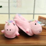 Compare Price Unisex Lovely 3D Plush Unicorn Light Up Slippers Soft Fluffy Indoor Shoes Winter Pink Intl On China