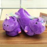 Get Cheap Unisex Lovely 3D Plush Unicorn Light Up Slippers Soft Fluffy Indoor Shoes Winter Purple Intl