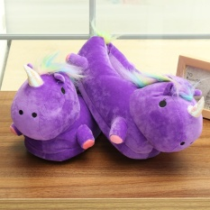 Sale Unisex Lovely 3D Plush Unicorn Light Up Slippers Soft Fluffy Indoor Shoes Winter Purple Intl On China