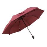 Lowest Price Unisex Men Women Automatic Open Close Folding Compact Super Windproof Anti Uv Rain Sun Umbrella Wine Red