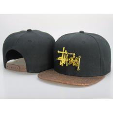 91971859f28 Unisex Metallic Gold Stussy Logo Black Brown Snapback Hat - intl