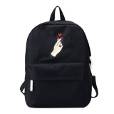 Unisex Students Embroidered Roses Loves Canvas Backpack Casual Sch**l Bag Black Intl Lower Price