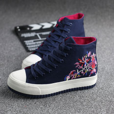 Recent Korean Style Embroidery Female Heavy Bottomed Shoes Universal Dark Blue