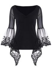 Promo V Neck Bell Sleeve Sheer Lace Panel T Shirt Black Intl