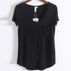 Purchase V Neck Curved T Shirt With Pocket Black Intl Online