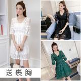 V Neck Slim Fit Slimming Skirt White Lace Dress White Reviews
