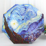 Van Gogh Vinyl Sun Umbrella Oil Painting Umbrella Moon And Stars Night Cheap