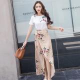 Sale Vanker Fashion Women Girls Irregular Floral Printed High Waist Long Skirts Dress Apricot L Intl Online On Singapore
