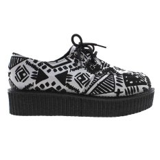 Sale Vanker Spring Winter Women Floral Stacked Lace Up Punk Goth Flat Platform Creeper Shoes Geometry Oem On China