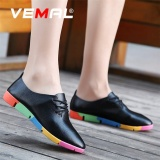 Buy Vemal Lady S Classic Oxfords Shoes Lace Ups Casual Leather Shoes Round Toe Mom Shoes Anti Skid Black Intl Cheap China