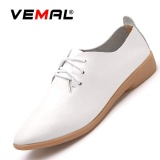 Vemal Lady S Classic Oxfords Shoes Lace Ups Casual Leather Shoes Round Toe Mom Shoes Anti Skid White Intl Promo Code