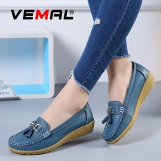 Review Vemal Women Leather Work Comfort Leather Moccasins Loafers Flats Slipper Mom Shoes Anti Skid Blue Intl Vemal