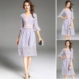 Best Offer Venflon Women European V Neck Lace Floral Flare Sleeve A Line Dress Evening Bohemian Retro Midi Dress Purple Intl