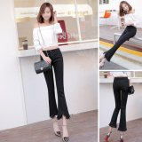 Review Venflon Women Korean Elastic Fringe Rough Hem Flares Denim Jeans Slim Trousers Pant Black Venflon On China