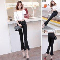Compare Price Venflon Women Korean Elastic Fringe Rough Hem Flares Denim Jeans Slim Trousers Pant Black On China