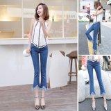 Where To Shop For Venflon Women Korean Elastic Fringe Rough Hem Flares Denim Jeans Slim Trousers Pant Blue