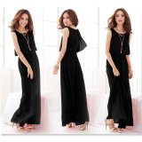 Venflon Women Summer Chiffon Boho Pleated Beach Maxi Dress Sleeveless Elastic Bohemia Long Dress Black Intl Venflon Cheap On China