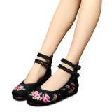 Veowalk Bird Embroidered Women Casual Cotton Fabric Ballet Flats Vinatge Comfort Canvas Shoes For Elegant Ladies Black Intl Discount Code