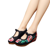 Compare Prices For Veowalk Flower Embroidered Women S Casual Platform Shoes Cotton Fabric Mary Jane Vintage 5Cm Mid Heels Ladies Canvas Wedges Pumps Black Intl