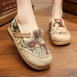 Buying Veowalk Linen Cotton Thailand Style Bear Embroidered Women Casual Loafers Leisure Flat Platforms Shoes For Ladies Red Intl