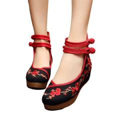 Review Veowalk Plum Flower Embroidered Asian Women Casual Canvas 5Cm Heels Wedges Platforms High Top Ladies Pump Shoes Black Intl On China