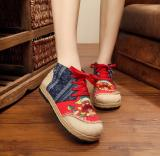 Get Cheap Veowalk Thai Style Women Casual Linen Hemp Flat Platforms Cotton Floral Embroidered High Top Lace Up Shoes For Ladies Red Intl