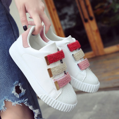 Sale Women S Korean Style Casual Velcro Sneakers White Pink Pink Pink Online On China