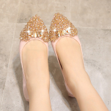 Buy Versatile Crystal Pointed Flat Heel Soft Bottom Shoes Shoes Pink Cheap China