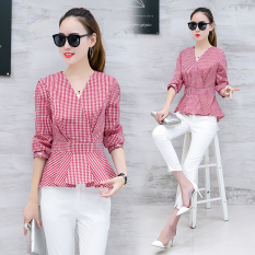 Sale Women S Korean Style Plaid Slimming Long Sleeve Shirt Red Quality Assurance Red Quality Assurance Other Branded