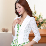 Versatile Female Thin Lace Short Jacket Small Shawl Black China